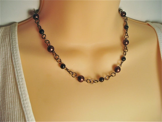Chocolate Brown Choker Necklace - Beaded Brown Choker Length Necklace on Brass Rings
