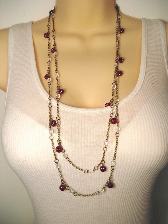 Long Red Beaded Necklace - Matching Set Red Beaded Earring and Very Long Necklace with Crimson Melon Beads