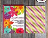 Flower Party - Invitation & Wrap Around Address Labels - Customized Printable