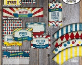Carnival Party - Circus Party - Food Tents - Buffet Labels - A La Carte - Customized Printable (Vintage Inspired)