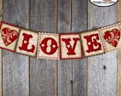 Valentine's Banner   Valentine's Day Banner   Love Banner   Love Bunting Banner   Valentines Banner Printable   Instant Download   Vintage