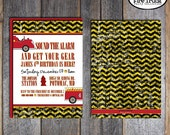 Fire Truck Invitation   Fire Truck Party Invitation   Fireman Birthday Party   Fireman Invitation   Firefighter   Address Labels   Printable