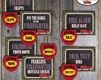 Fire Truck Birthday Party - Activity Bundle - Activity Signs & Fireman Merit Badges - Customized Printable
