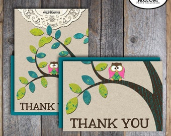 Owl Party - Night Owl Birthday Party - Thank You Cards & Wrap Around Address Labels - Customized Printable (Pajama Party, Woodland)