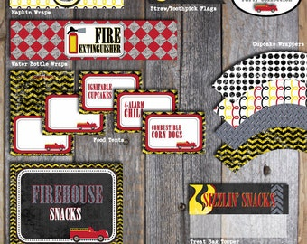 Fire Truck Food Tents - Fireman Food Tents - Buffet Labels - Printable (Fire Engine, Firefighter, Birthday Party)