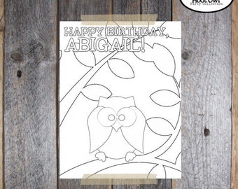 Owl Party - Night Owl Birthday Party - Coloring Page - Coloring Sheet - Customized Printable (Pajama Party, Woodland)