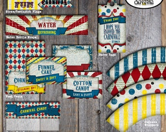 Carnival Party - Circus Party - Favor Tags - A La Carte - Customized Printable (Vintage Inspired)