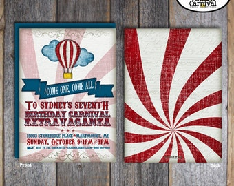 Hot Air Balloon Invitation - Carnival Birthday Invitation - Circus Party Invite - With Wrap Around Address Labels - Printable (Vintage)
