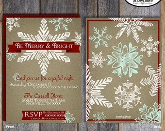 Christmas Party Invitation - Holiday Party Invitation & Wrap Around Address Labels - Customized Printable (Merry and Bright Snowflake)