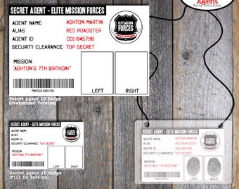 Secret agent etsy for Spy id card template
