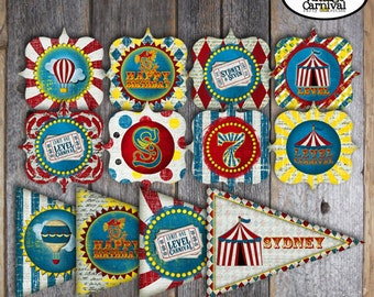 Carnival Party - Circus Party - Complete Collection - Toppers, Bunting Banner, Favor Tags & More - Customized Printable (Vintage Inspired)