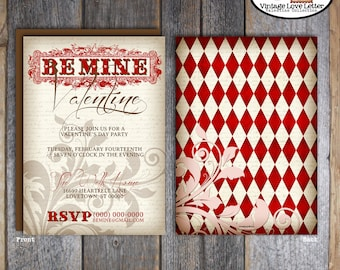 Valentines Invitation | Valentines Invite | Valentines Day Invitation | Valentines Party Invitation | Vintage Valentine Invite | Printable