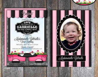 Paris Party - French Cafe - French Bistro - Invitation & Wrap Around Address Labels With Photo - Customized Printable (Parisian Birthday)
