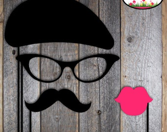 Paris Party - French Cafe Bistro - Photo Booth Props - Beret - Mustache Moustache - Lips Kiss - Glasses - Printable (Parisian Birthday)