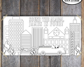 "Fire Truck Birthday Party - Coloring Wall Banner Poster - 30"" x 60""  - Customized Printable (Firefighter, Fireman, Firetruck)"