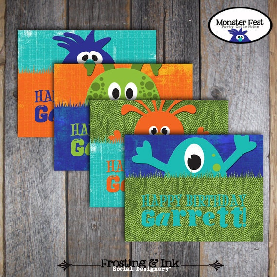 Monster Birthday Party - Activity Placemats - Customized Printable (Monster Birthday Bash, Silly Monster, Cute Monsters, Monster Party Game)
