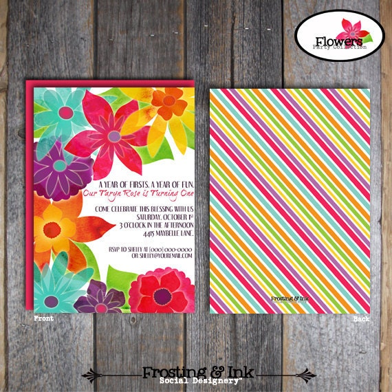 Flower Party - Invitation, Thank You Card & Wrap Around Address Labels - Customized Printable