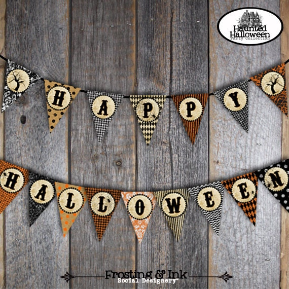 Halloween Bunting 1000 images about banderines on pinterest pennant banners buntings and banners Halloween Party Halloween Bunting Banner Customized Printable A