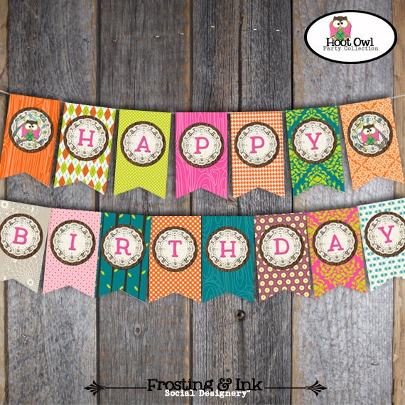 Owl Banner Owl Bunting Banner Owl Party Owl Birthday