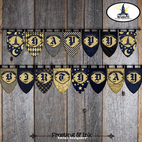 Wizard Banner | Wizard Bunting Banner | Harry Potter Banner | Hogwarts Banner | Wizard Party Decorations | Wizard Birthday Party | Printable