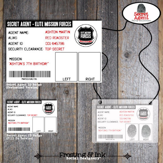 Spy Party - Secret Agent Party - Customized ID Badges - Printable (Birthday Party)