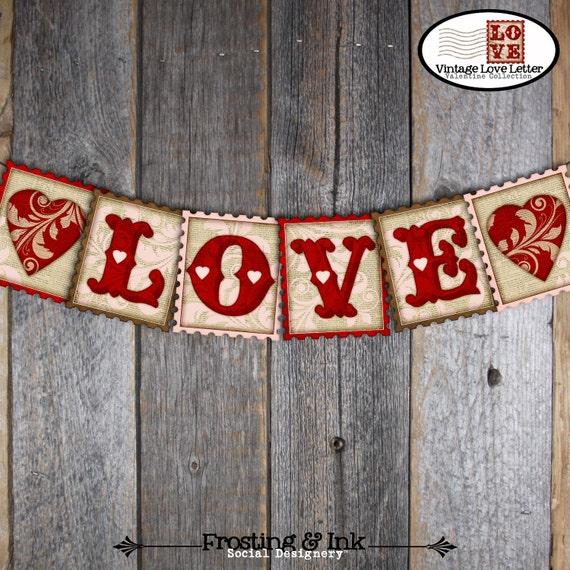 Valentine's Banner | Valentine's Day Banner | Love Banner | Love Bunting Banner | Valentines Banner Printable | Instant Download | Vintage