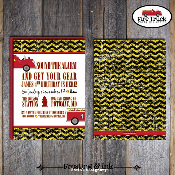 Fire Truck Invitation | Fire Truck Party Invitation | Fireman Birthday Party | Fireman Invitation | Firefighter | Address Labels | Printable