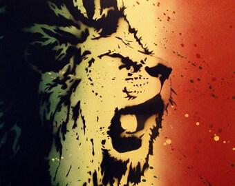 Rasta Lion Roar - Spray Paint stencil art on canvas