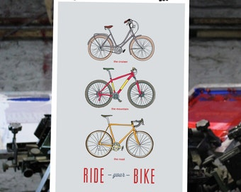 Bicycle Art Print - Ride Your Bike - 12x18 - Poster 2 - Wall Decor