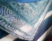Whispering Sea - hand knit mohair shawl, one of a kind, handspun art yarns