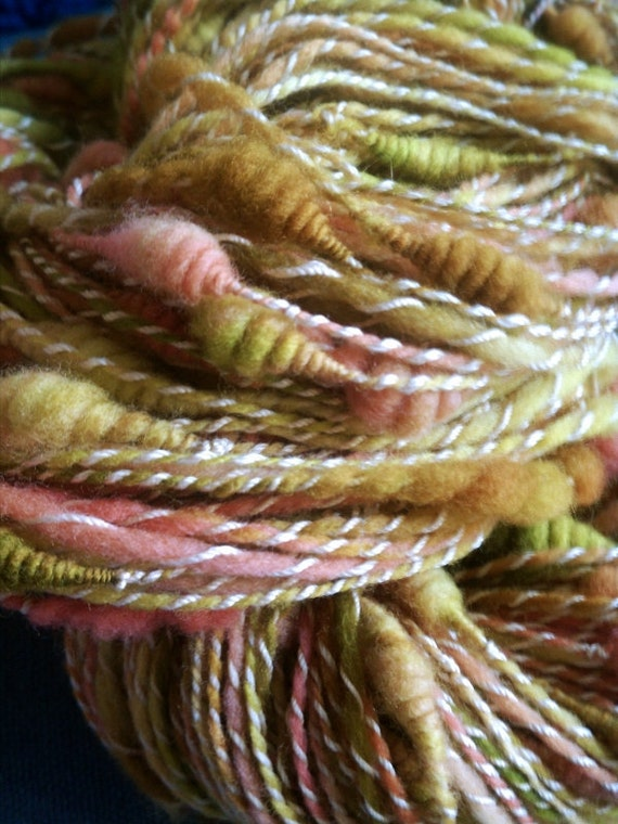Caterpillar - SALE - coils and crystals art yarn, merino/cotton, 260 yards