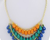 Stunning Summer Time Blues and Turquoise Multi Bead Necklace