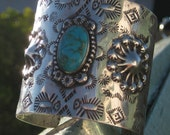 RESERVED FOR LITTLETHINGSVINTAGE to 01-Aug-11 - Handmade, Genuine Native American Navajo, Turquoise and Silver Cuff