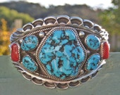 RESERVED FOR Arash Mafi (PaisleyDreamsJewelry) - Native American, Turquoise, Coral and Silver Bracelet - Vintage Apachi 1970s Signed
