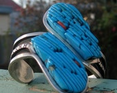 RESERVED FOR LITTLETHINGSVINTAGE to 01-Aug-11 - Turquoise and Silver Cuff - Genuine Native American