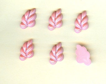 Vintage Czech Glass Stones 12x20mm Rose Pink Luster Vine Leaves - 6 Pieces Right Facing