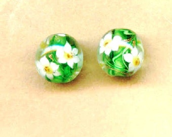Lampwork Beads Green with White Lilies 14mm Round Beads - 2 Pieces