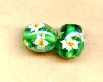 Lampwork Beads Green with White Lilies 14x16mm Barrel Beads - 2 Pieces