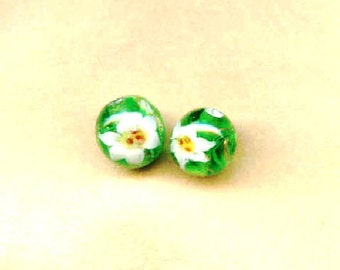 Lampwork Beads Green with White Lilies 10mm Round Beads - 2 Pieces