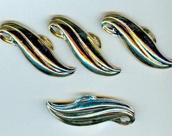 Links Vintage Long Art Deco Gold Plate Leaf Stamping -- Set of Three