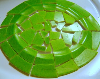 Mosaic Supplies Apple Green plate for mosaic work assemblage  Total LOT Vintage green plate  Jewelry Mosaic Assemblage