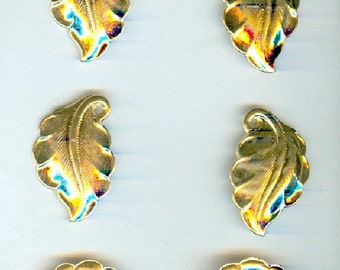 Art Nouveau Style Vintage Leaf Charms High Quality Shiny Gold Plated -- Six Pieces