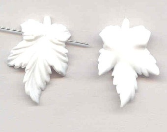 Acrylic Leaf Pendants Matte White Pair Frosty Vintage Detailed Leaves