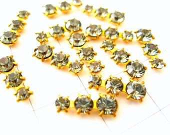 Austrian crystal findings 3 stone prong set graduated Black Diamond crystal- jewelry embellishments - findings crystal brass