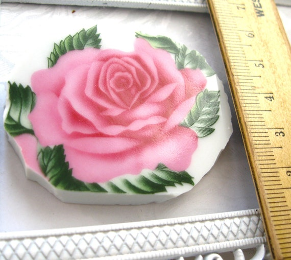 Mosaic Rose Porcelain China Pink focal Rose Broken China large Shabby Rose Vintage China Roses Jewelry Mosaic Assemblage