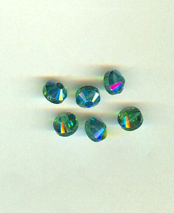 Vintage Swarovski Crystal Beads 8mm Art 5101 Green Turmaline - 6 Pieces