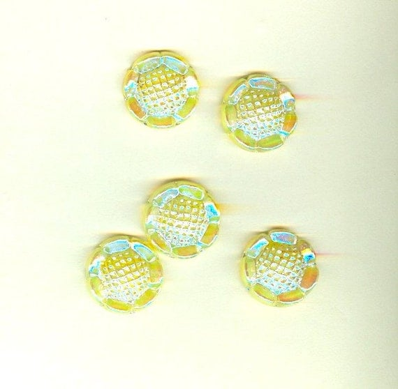 Vintage Czech Glass Stone 23mm Round Sunny Yellow Luster - 5 Pieces