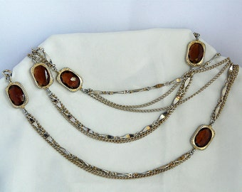 Sarah Coventry gold tone chains and topaz colored stones necklace