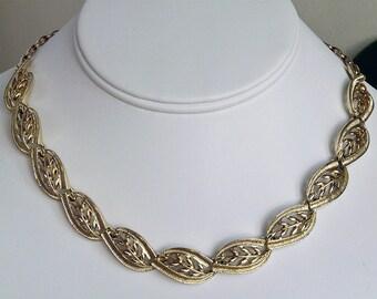 vintage signed Coro leaf design choker necklace