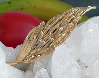 BSK 10K yellow gold plated large leaf brooch